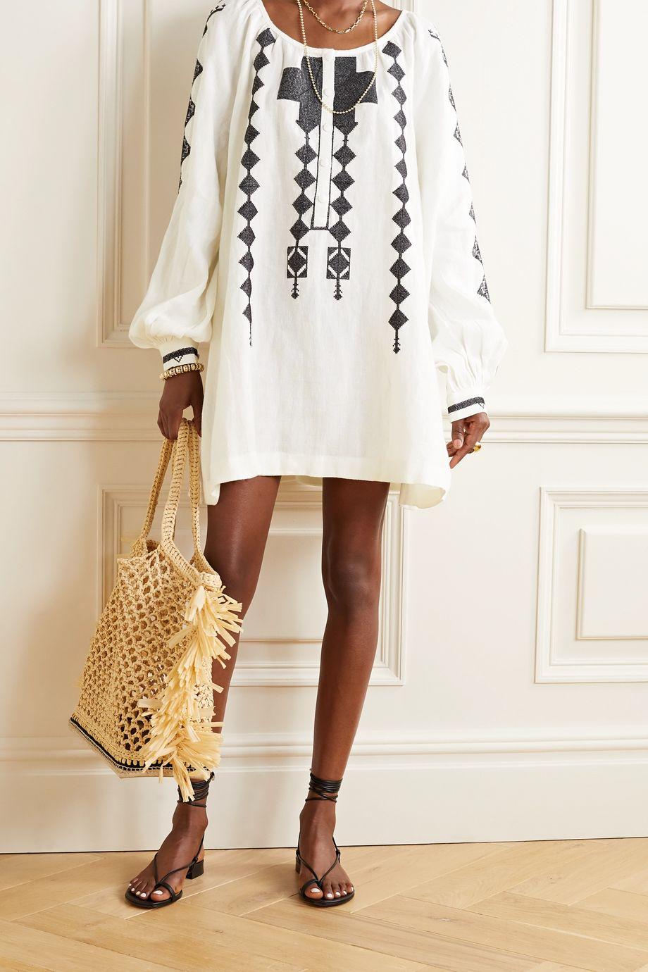 Fil De Vie Embroidered linen mini dress