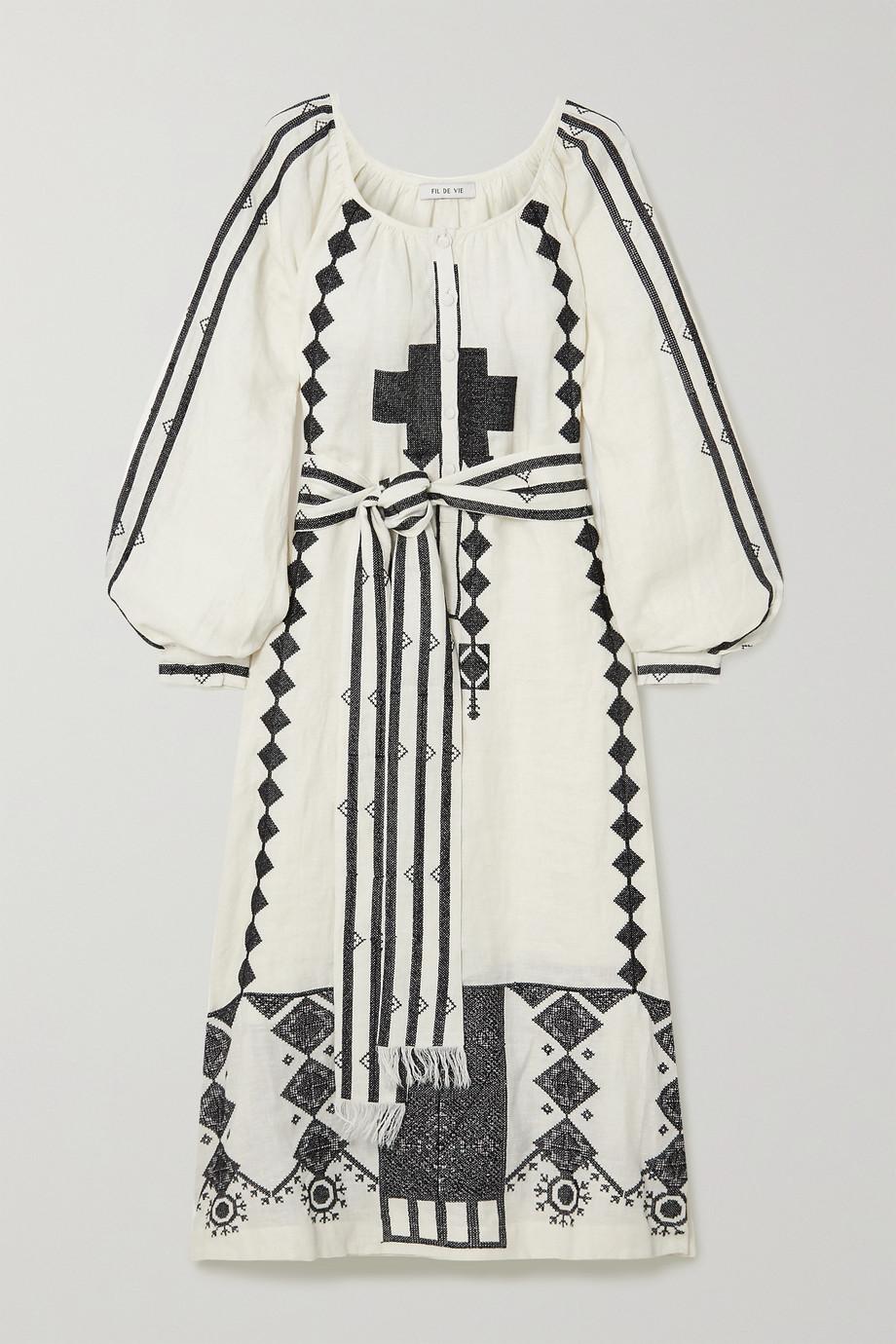 Fil De Vie Souk belted embroidered linen kaftan