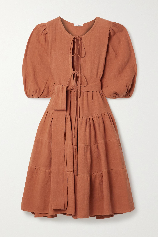 Fil De Vie Medina belted tiered linen midi dress
