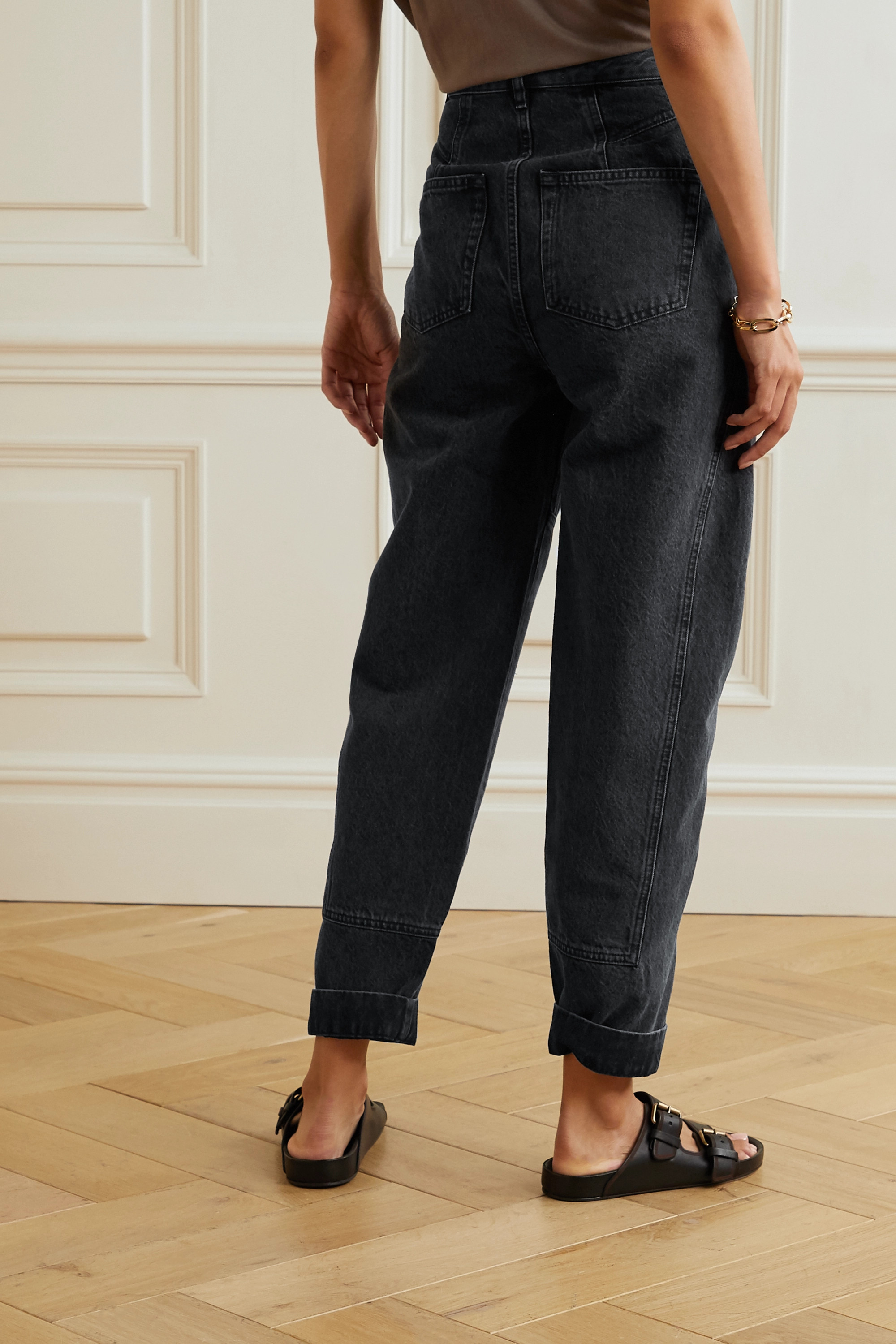 IRO Vangir pleated high-rise tapered jeans