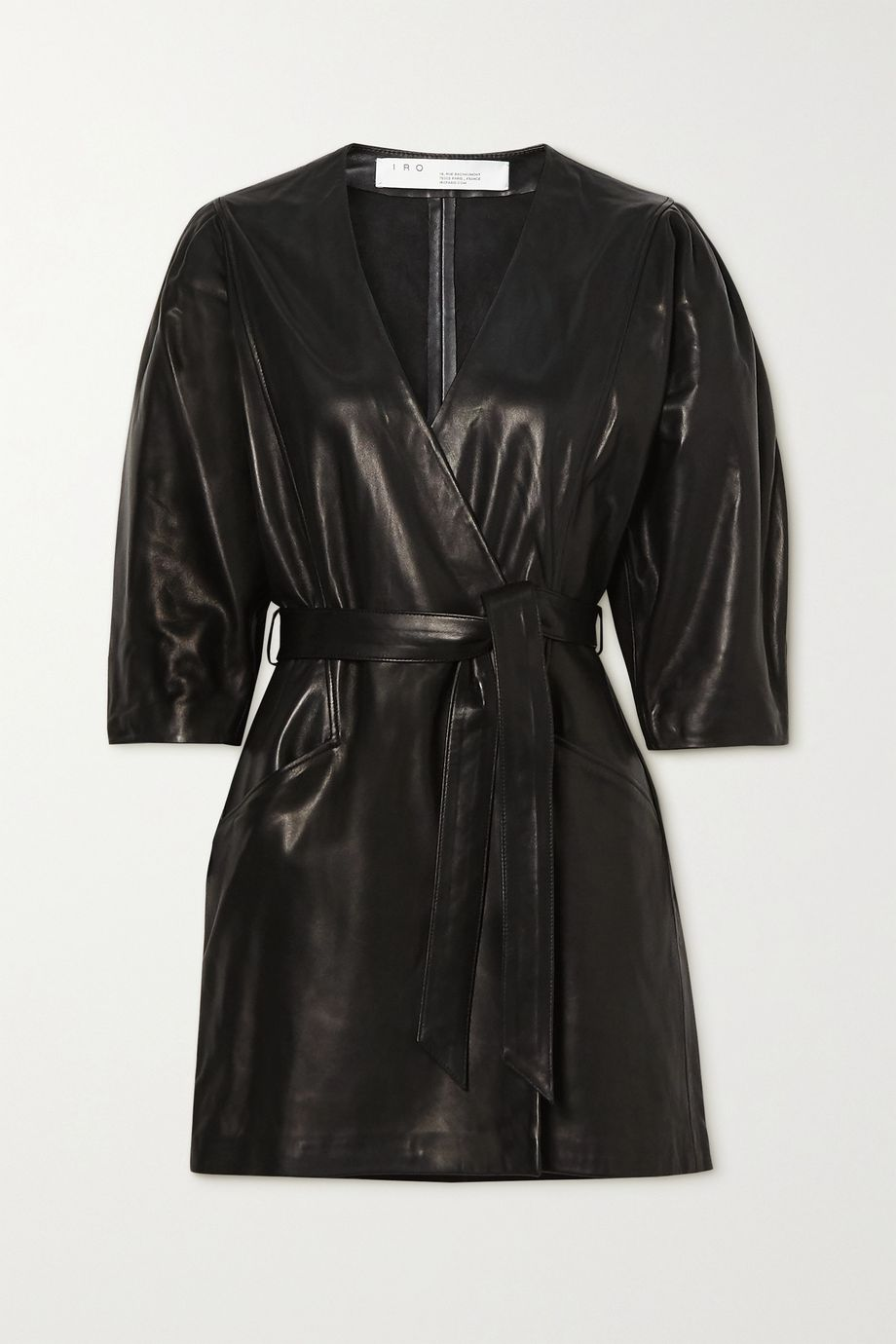 IRO Lanika belted leather mini wrap dress