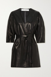 IRO Lanika belted leather mini wrap dress