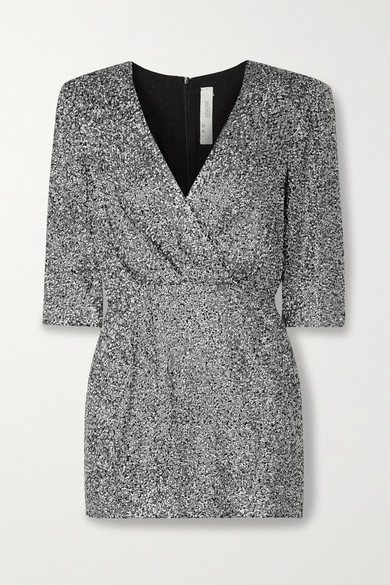 Iro JUSTIFY WRAP-EFFECT SEQUINED GEORGETTE MINI DRESS