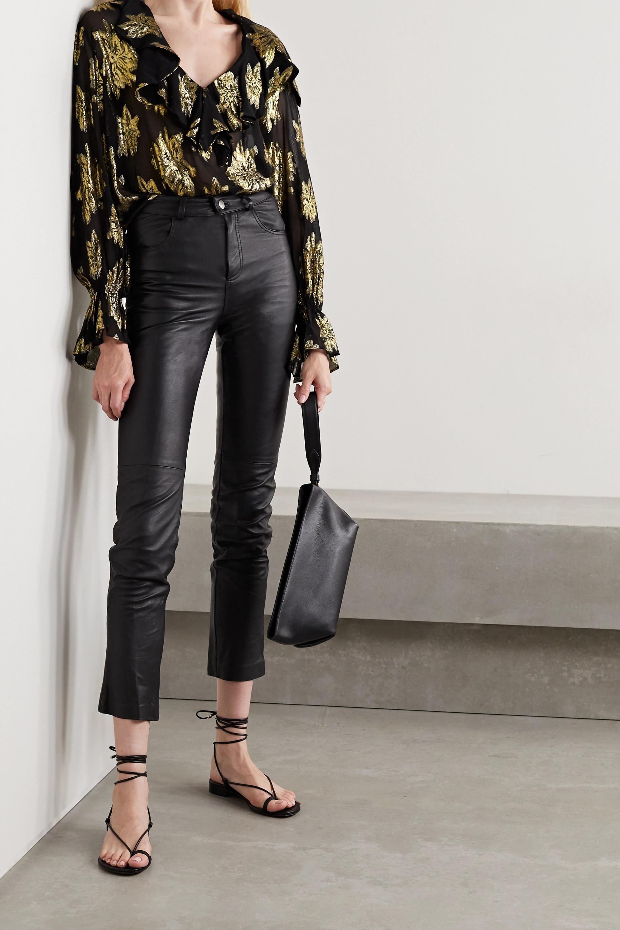 IRO Dresses Labra ruffled metallic fil coupé chiffon blouse
