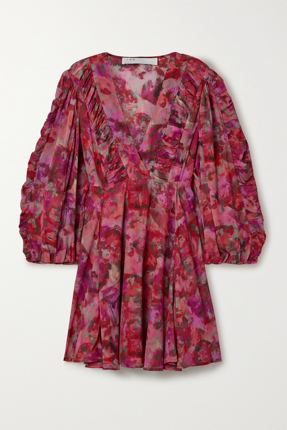 IRO Gaiety gathered floral-print georgette mini dress