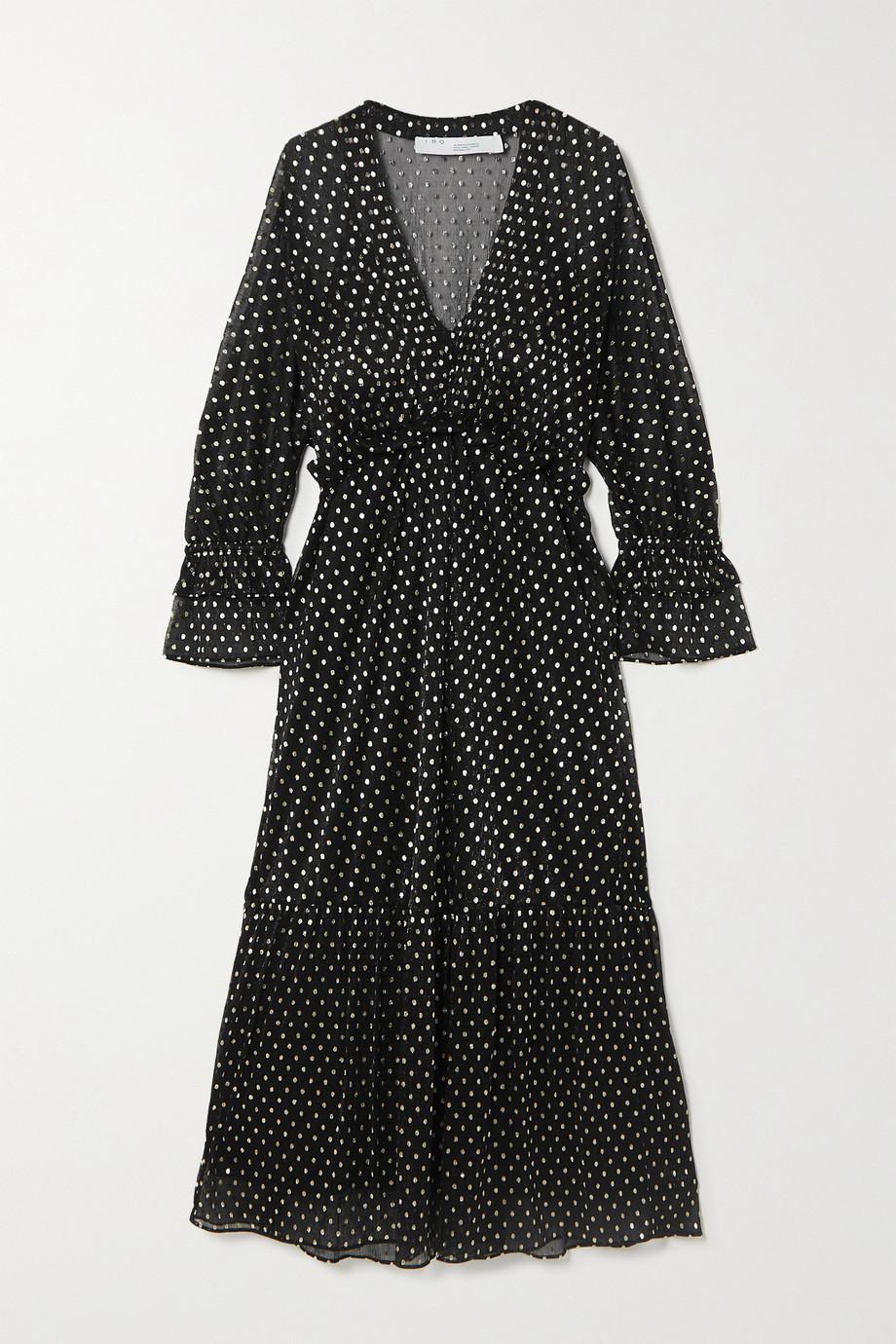 IRO Mawson 荷叶边波点刺绣提花雪纺绸中长连衣裙