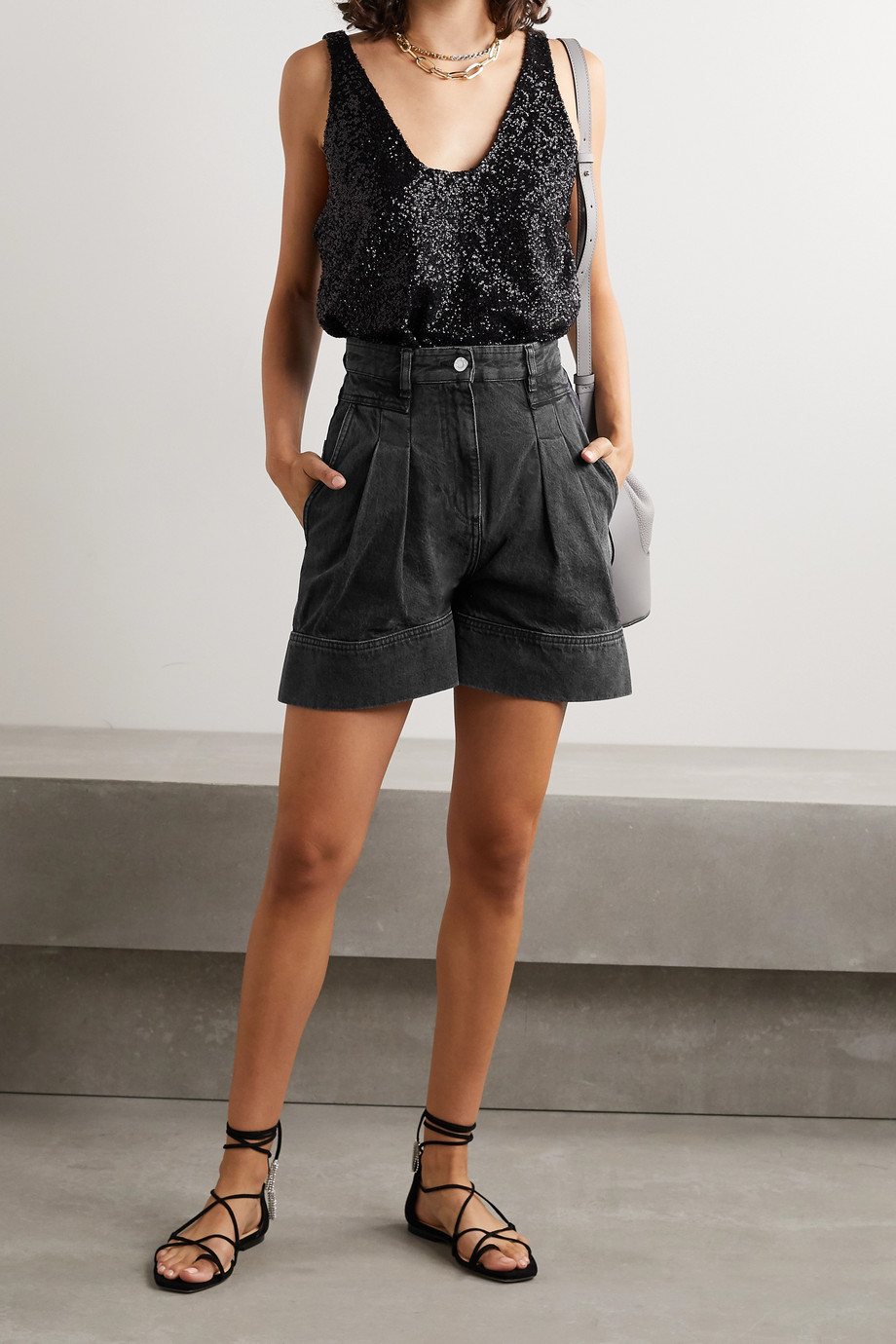 IRO Tryfin pleated denim shorts