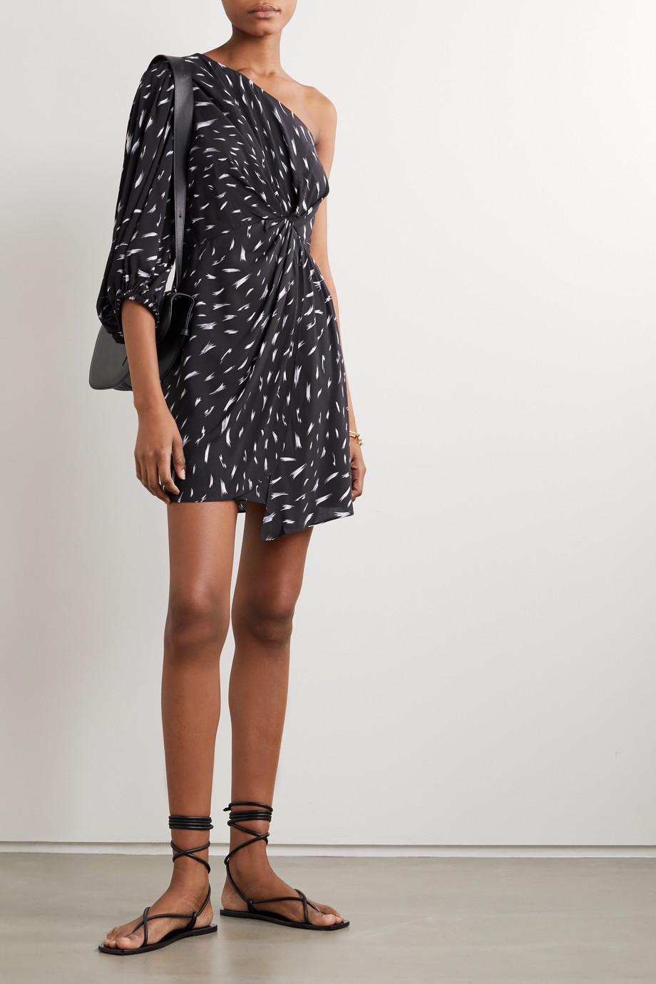 IRO Akubra one-sleeve gathered printed crepe mini dress