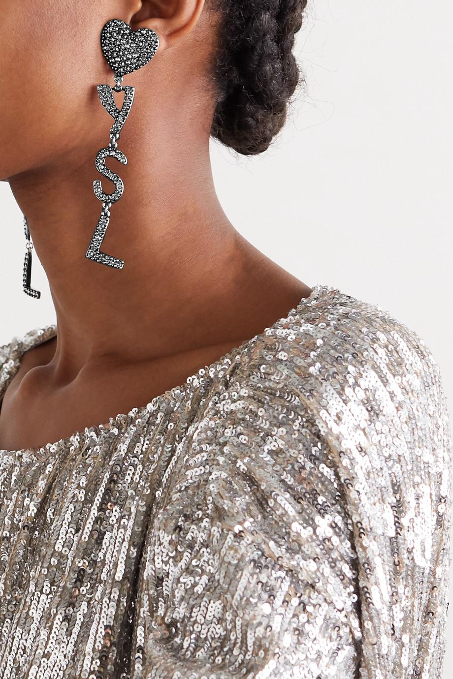 SAINT LAURENT Silberfarbene Ohrclips mit Kristallen