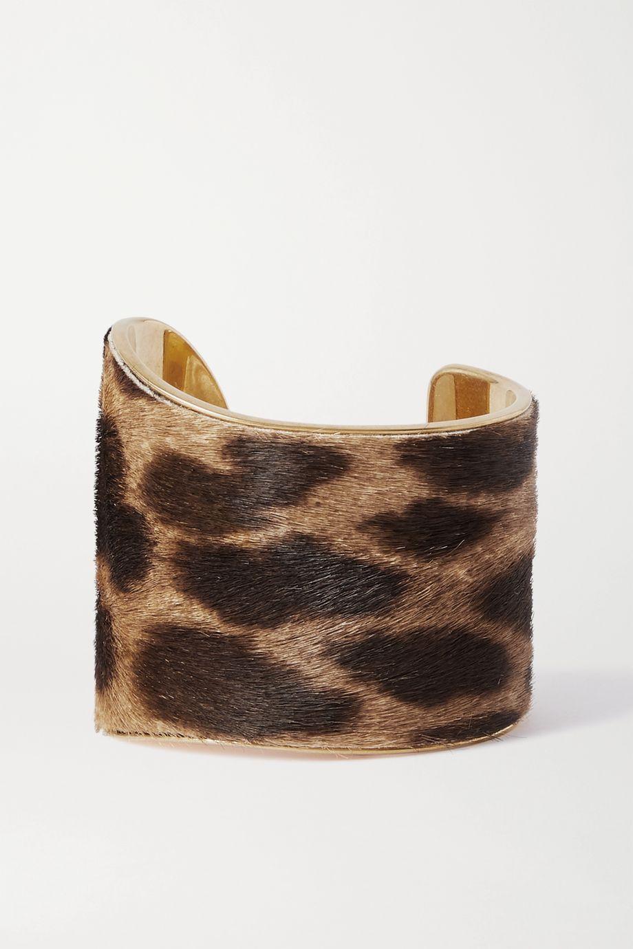 SAINT LAURENT Leopard-print calf hair and gold-tone cuff