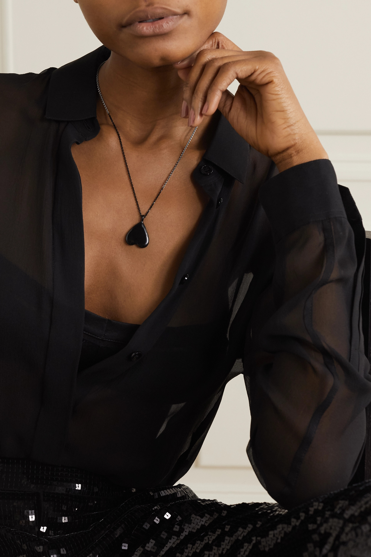 SAINT LAURENT Silver-tone and enamel necklace