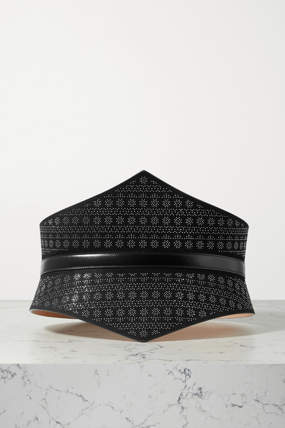 Alaïa Studded leather-trimmed suede waist belt