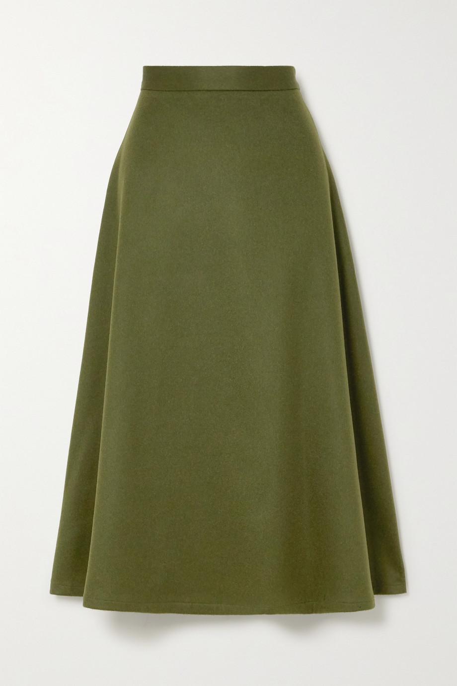 Giuliva Heritage The Ada herringbone camel hair midi skirt