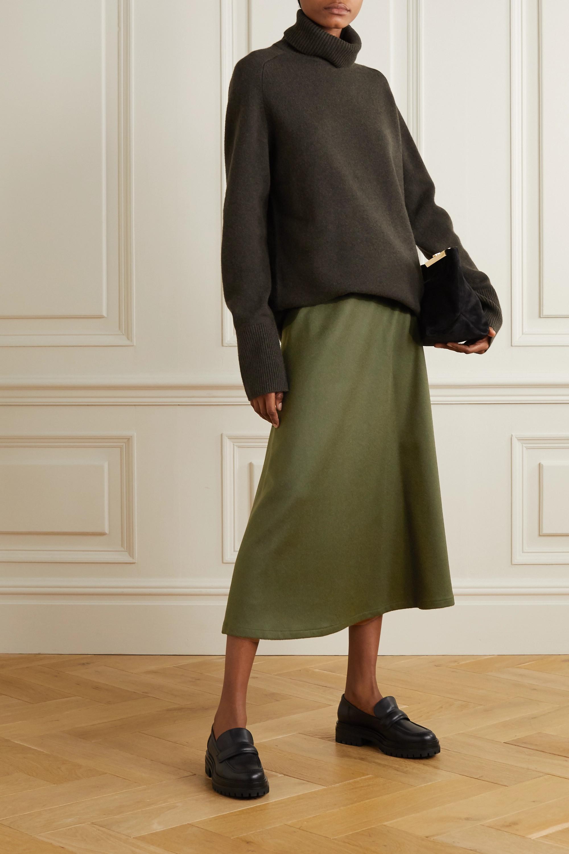 Army Green The Ada Herringbone Camel Hair Midi Skirt | Giuliva Heritage