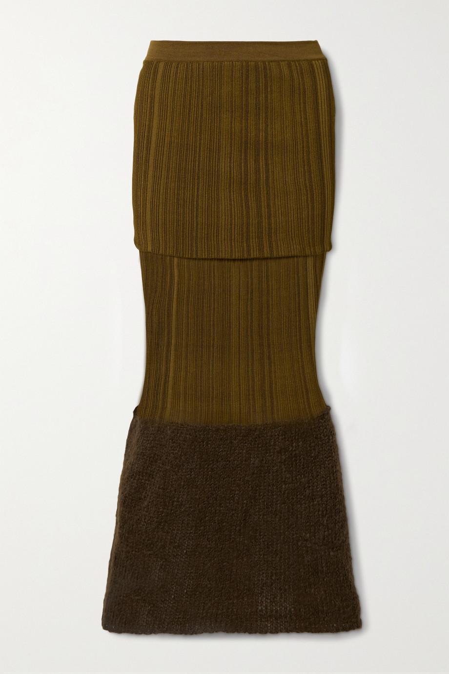 Moncler Genius + 2 Moncler 1952 mohair-blend and ribbed silk midi skirt