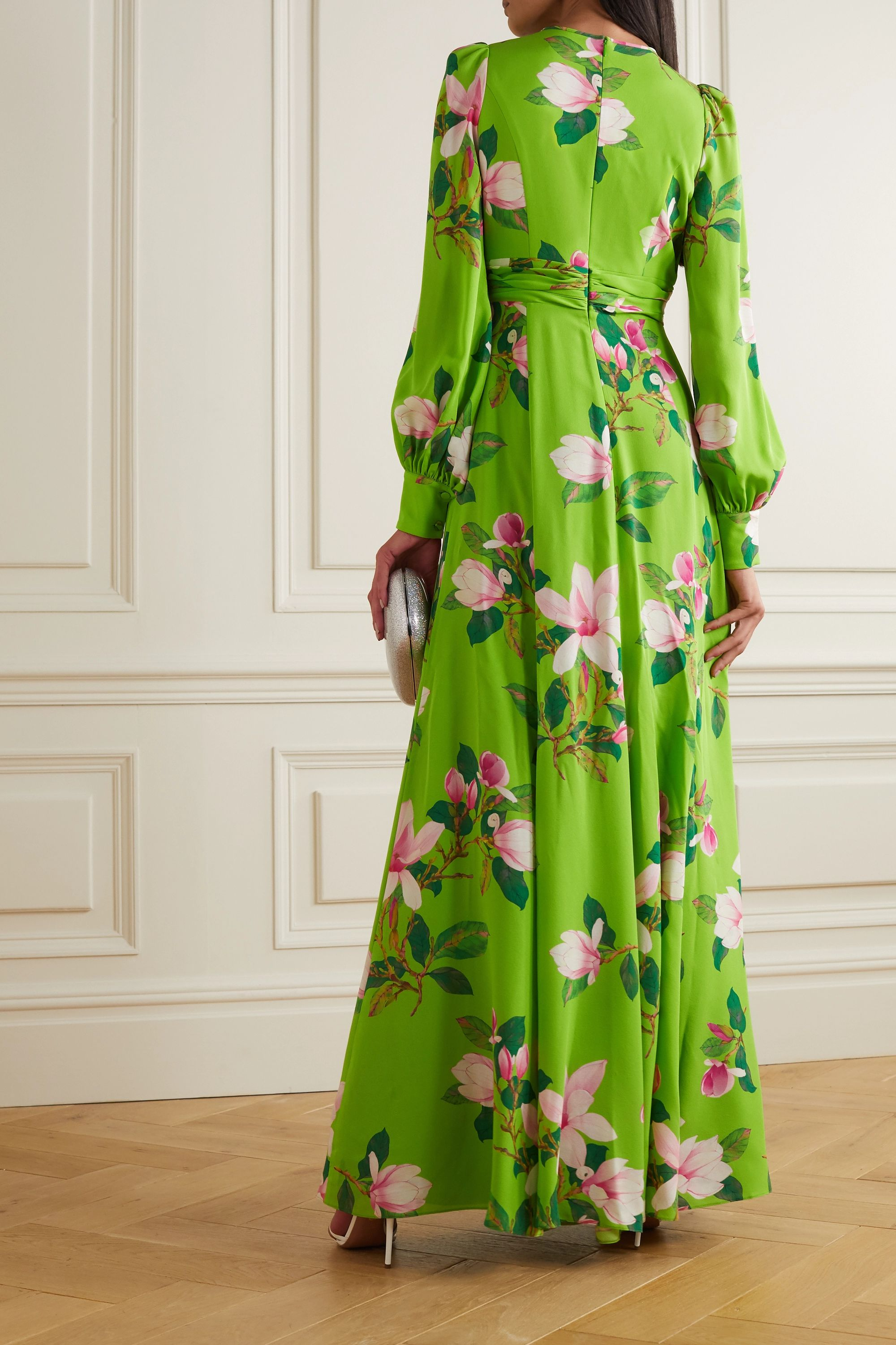 Andrew Gn Floral-print silk-crepe gown