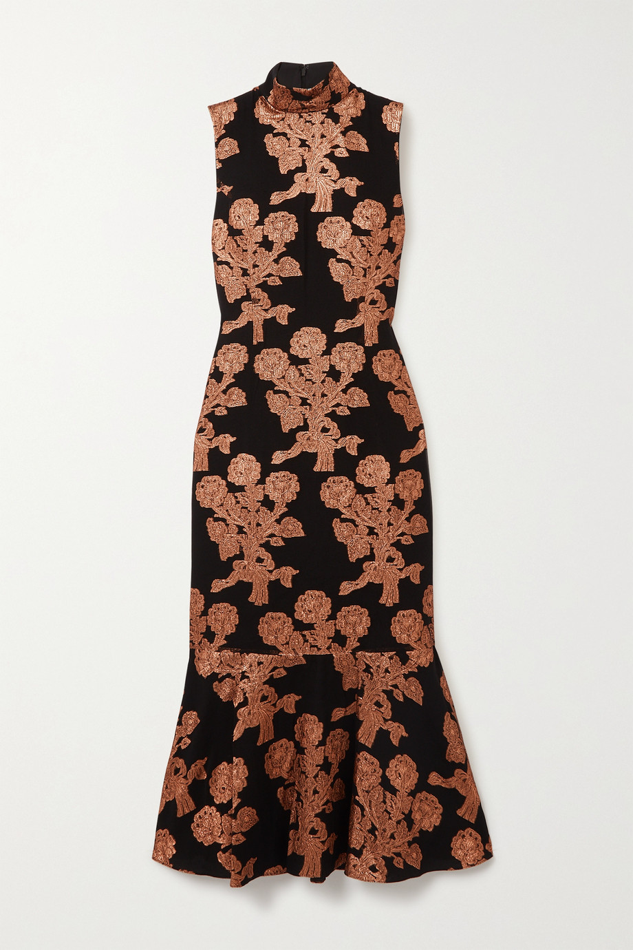 Andrew Gn Metallic fil coupé silk-blend midi dress