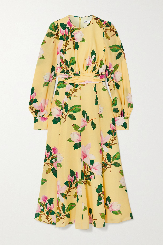 Andrew Gn Floral-print silk crepe de chine midi dress