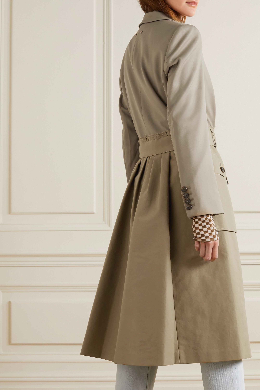 Andersson Bell Mehrlagiger Trenchcoat aus Baumwoll-Twill und einer Wollmischung mit Gürtel