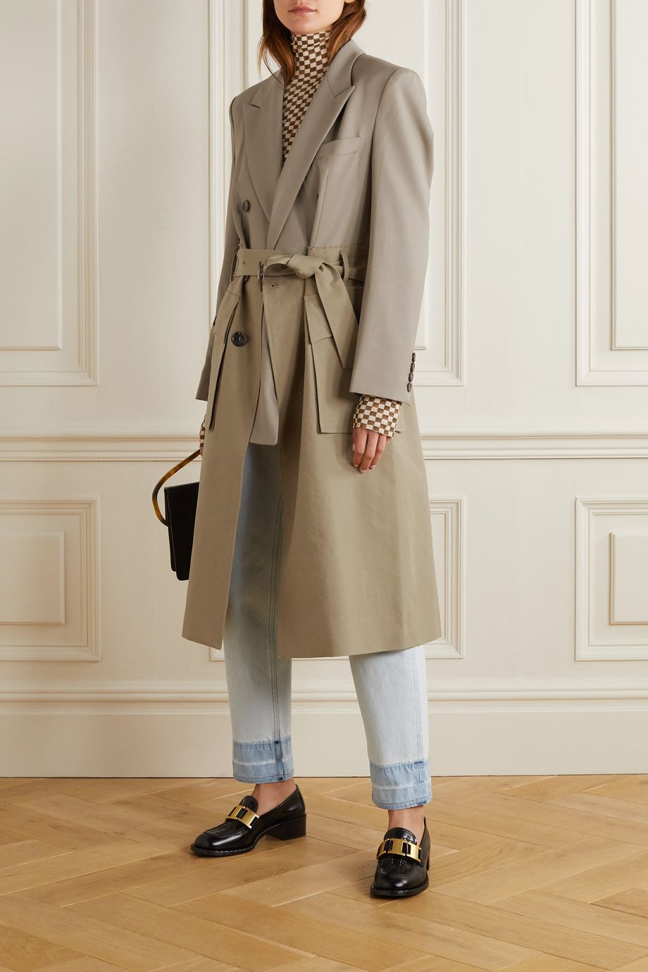Andersson Bell Belted layered cotton-twill and wool-blend trench coat
