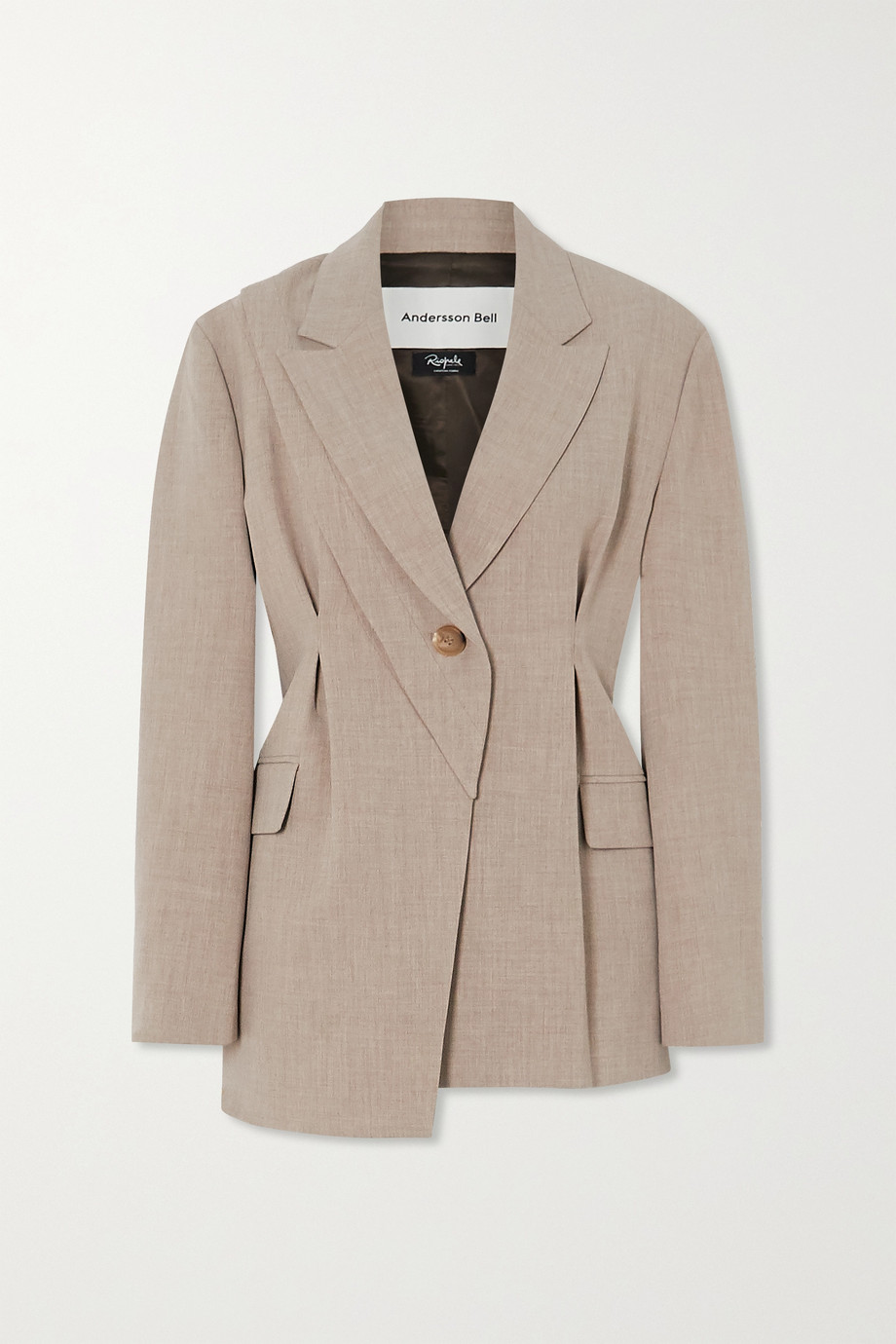 Andersson Bell Dylan asymmetric pintucked mélange woven blazer