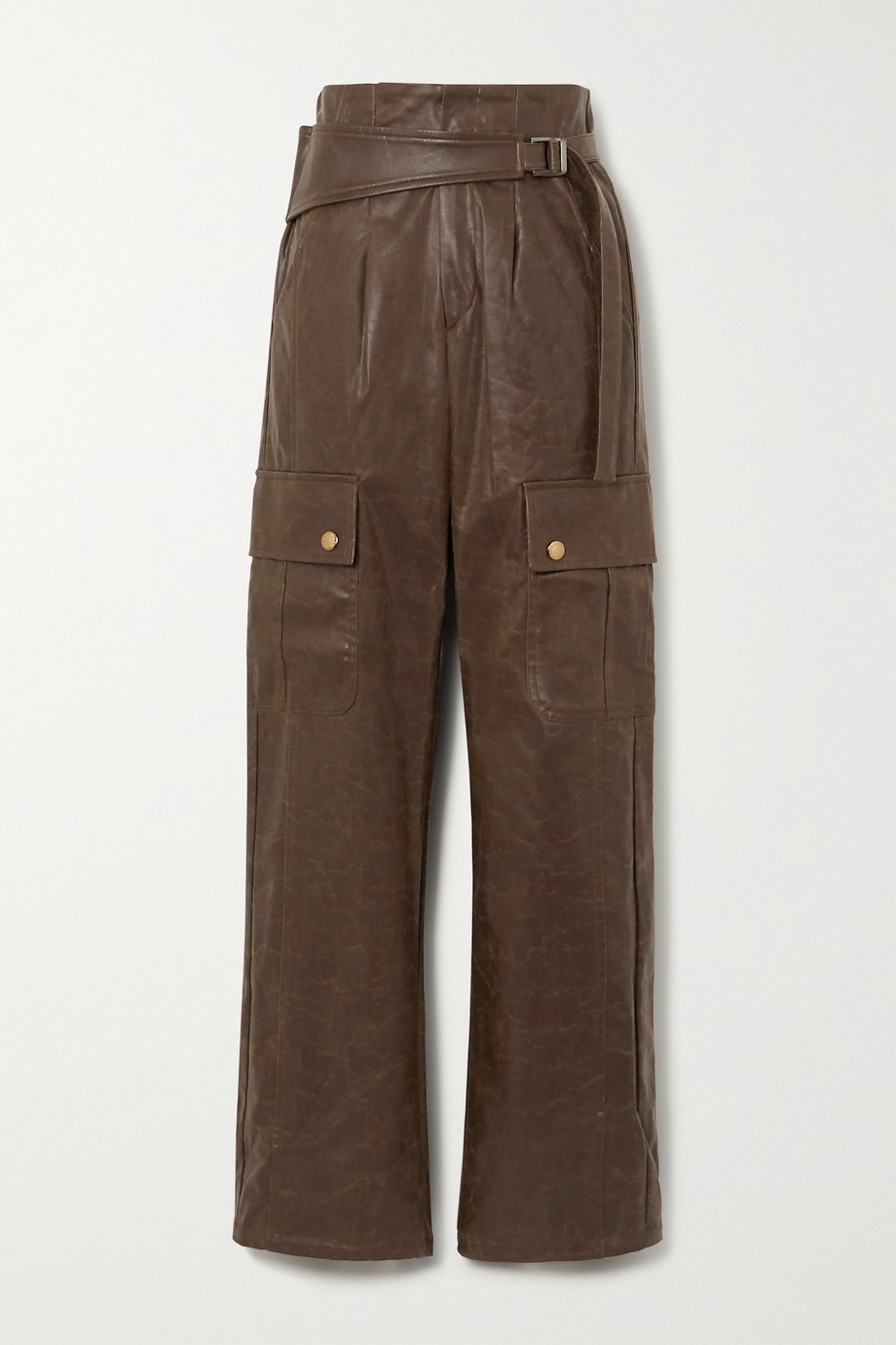 Andersson Bell Katia belted vegan leather straight-leg cargo pants