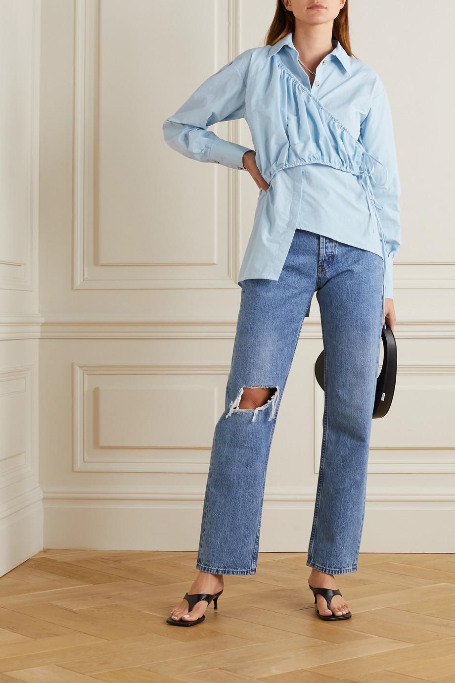 Andersson Bell Daphne asymmetric wrap-effect poplin blouse