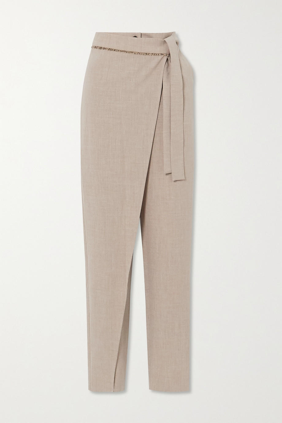 Andersson Bell Emma belted layered mélange woven tapered pants