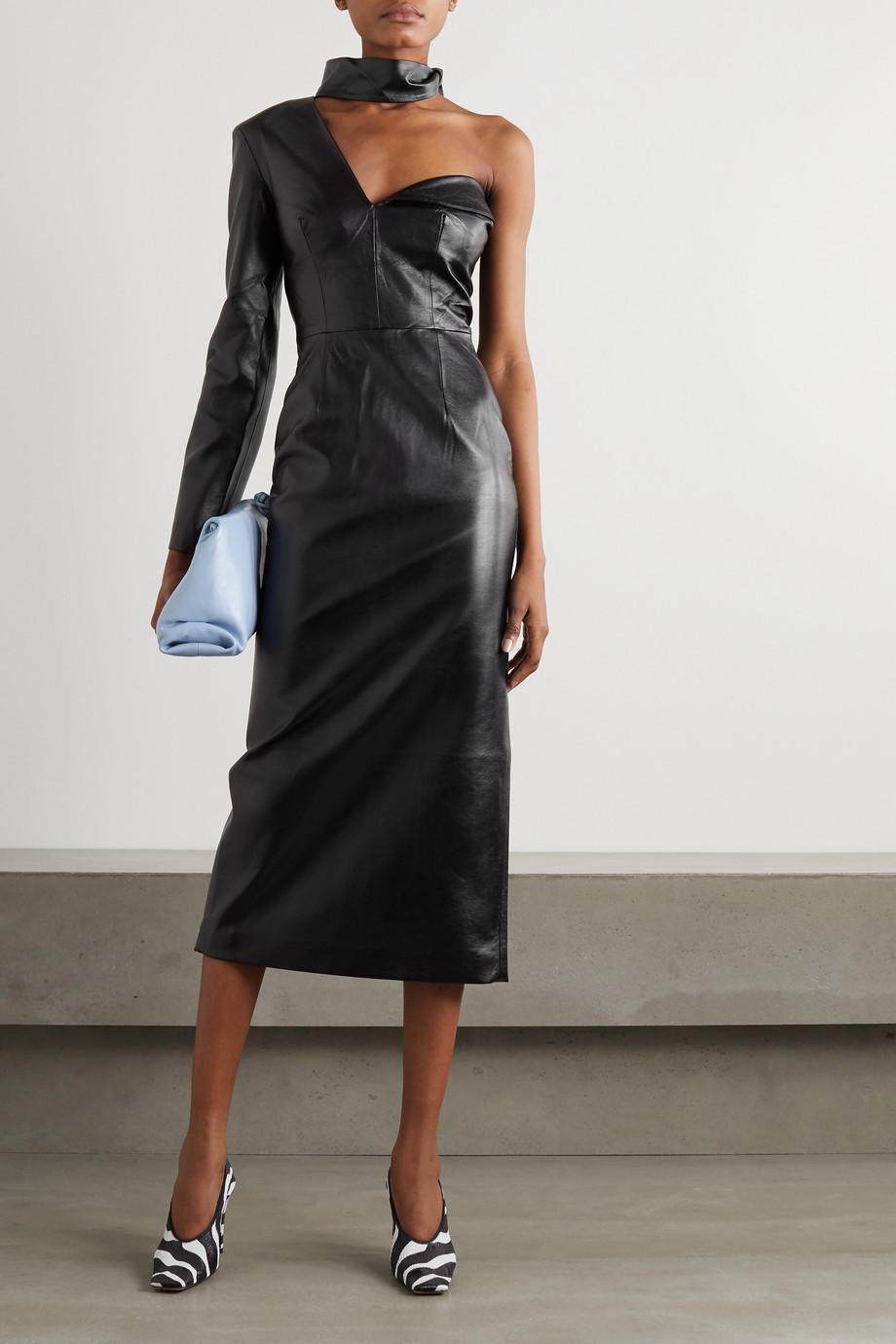 MATERIEL One-shoulder scarf-detail faux leather midi dress
