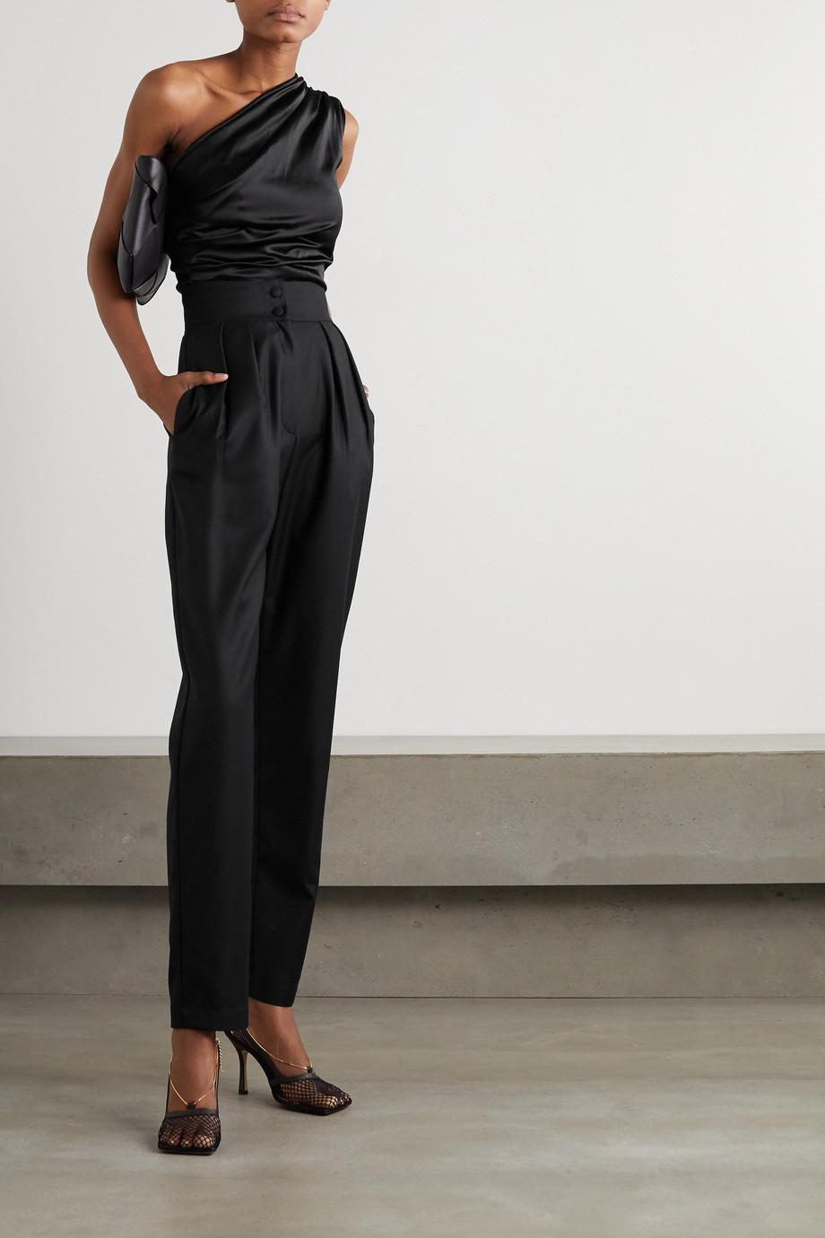 MATERIEL Pleated wool-crepe straight-leg pants