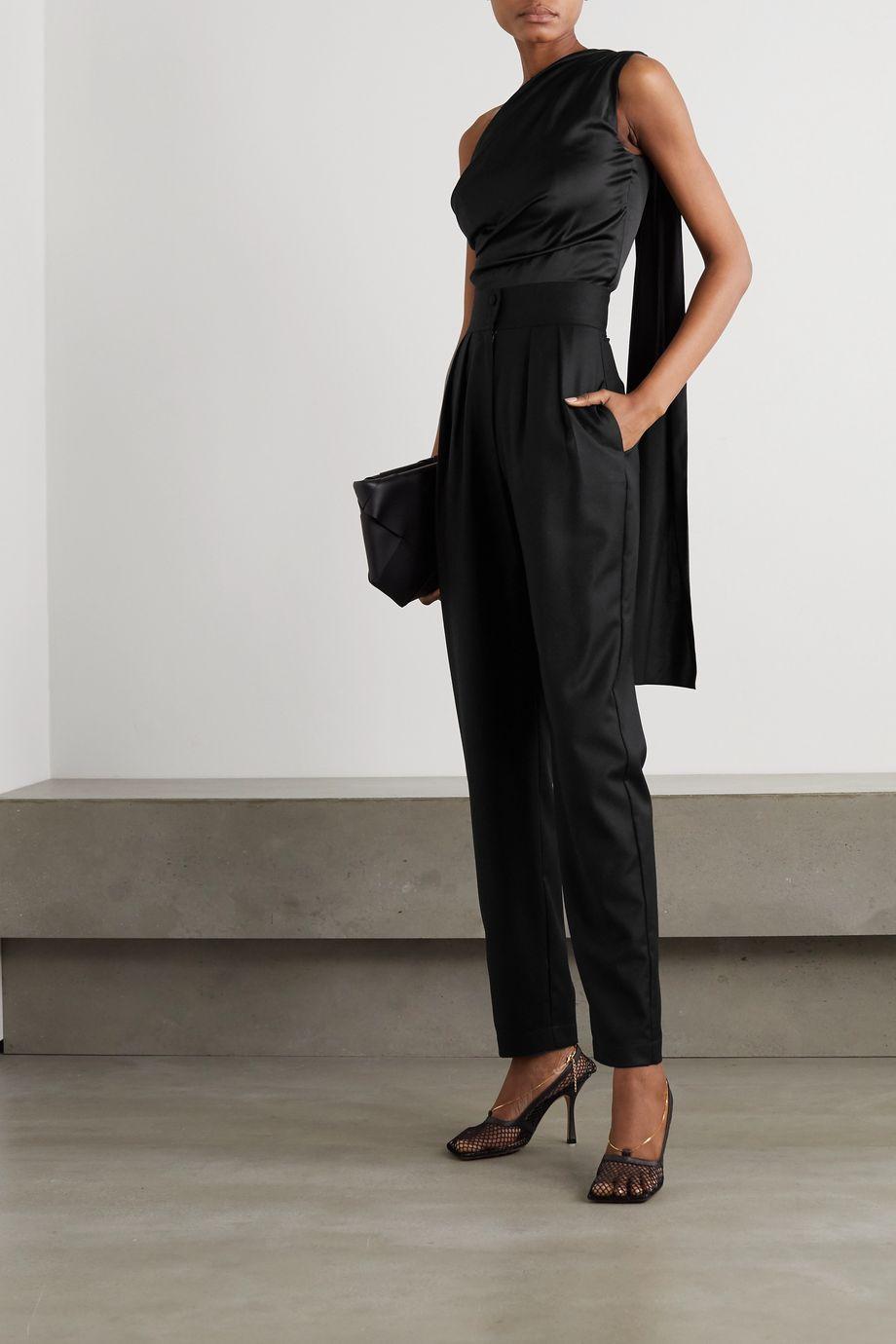 MATERIEL One-shoulder draped silk-blend satin top