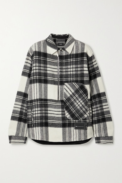 We11 Done OVERSIZED APPLIQUÉD CHECKED WOOL JACKET