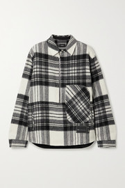 we11done Oversized appliquéd checked wool jacket