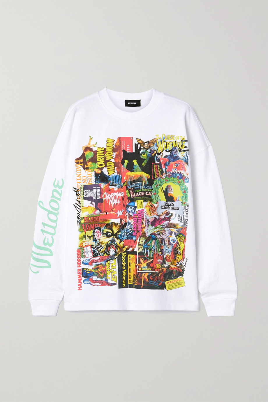 we11done Oversized printed appliquéd cotton-jersey T-shirt
