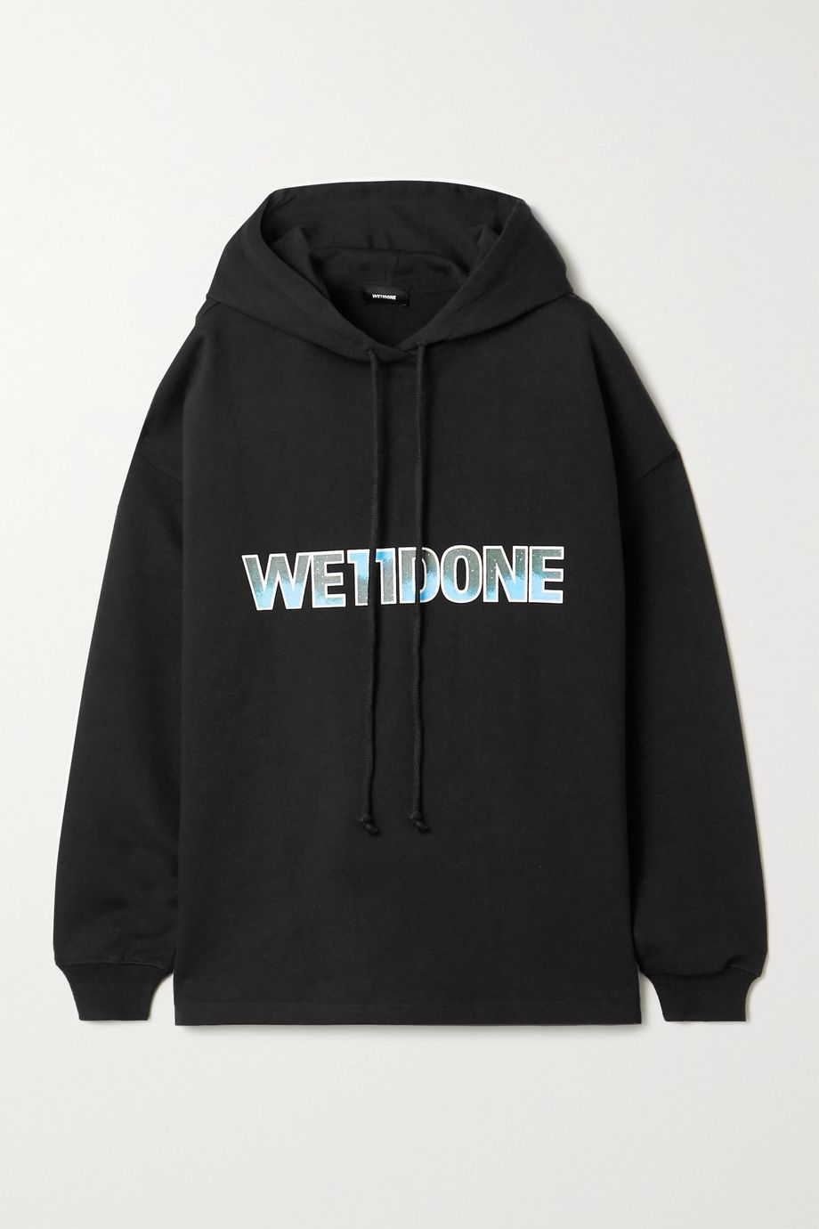 we11done Oversized printed appliquéd cotton-jersey hoodie