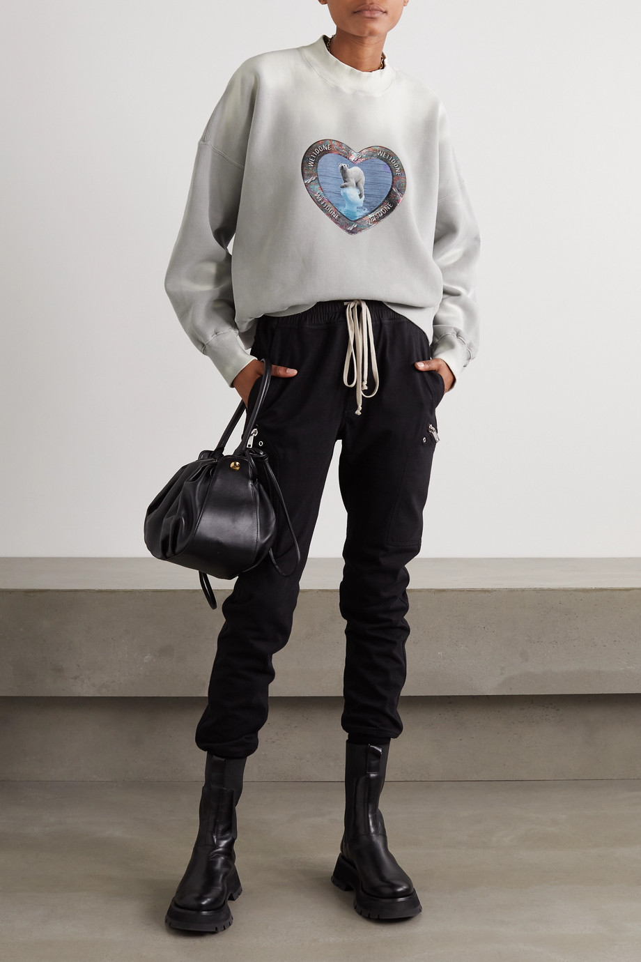 we11done Oversized metallic printed cotton-blend jersey sweatshirt