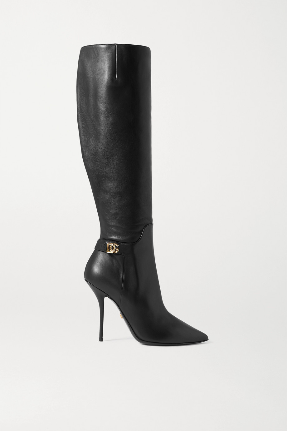 Dolce & Gabbana Logo-embellished leather knee boots