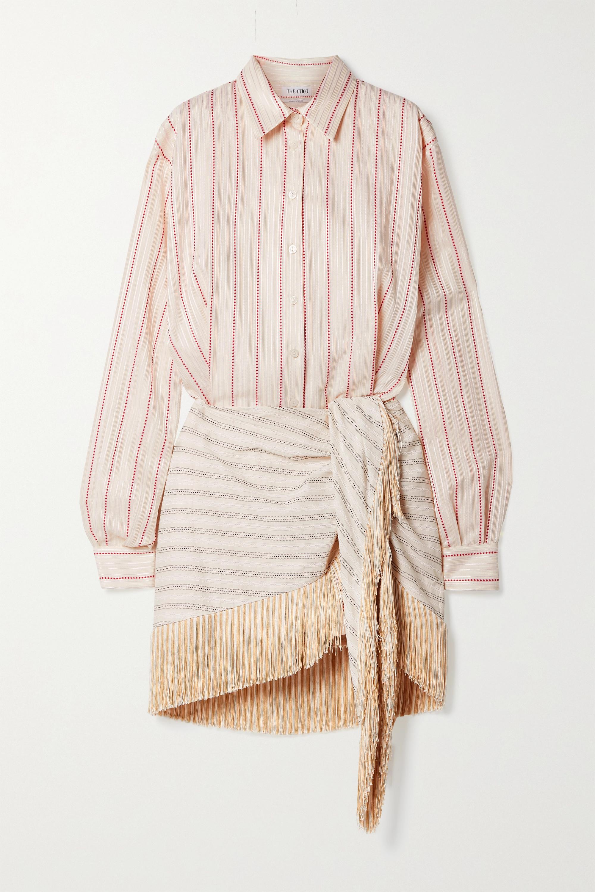 The Attico Mini-robe-chemise en jacquard de coton mélangé à rayures et à franges