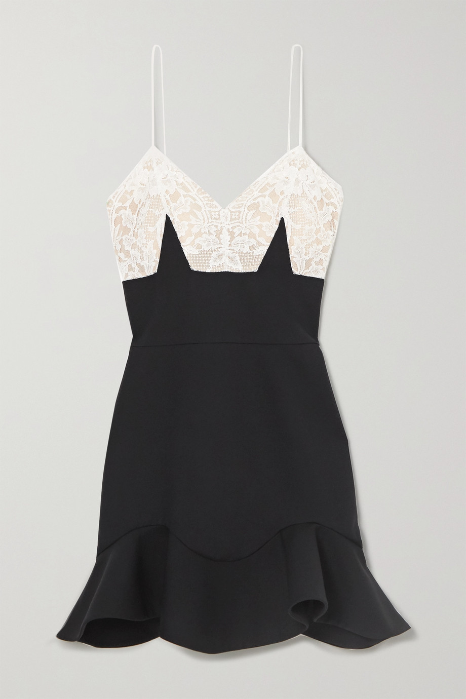 알렉산더 맥퀸 Alexander McQueen Wool-blend and lace mini dress,Black