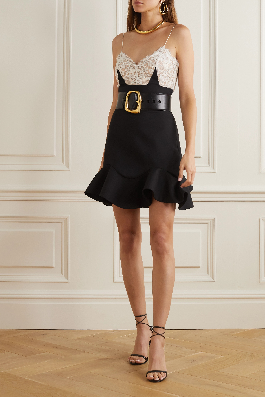 Black Wool-blend and lace mini dress
