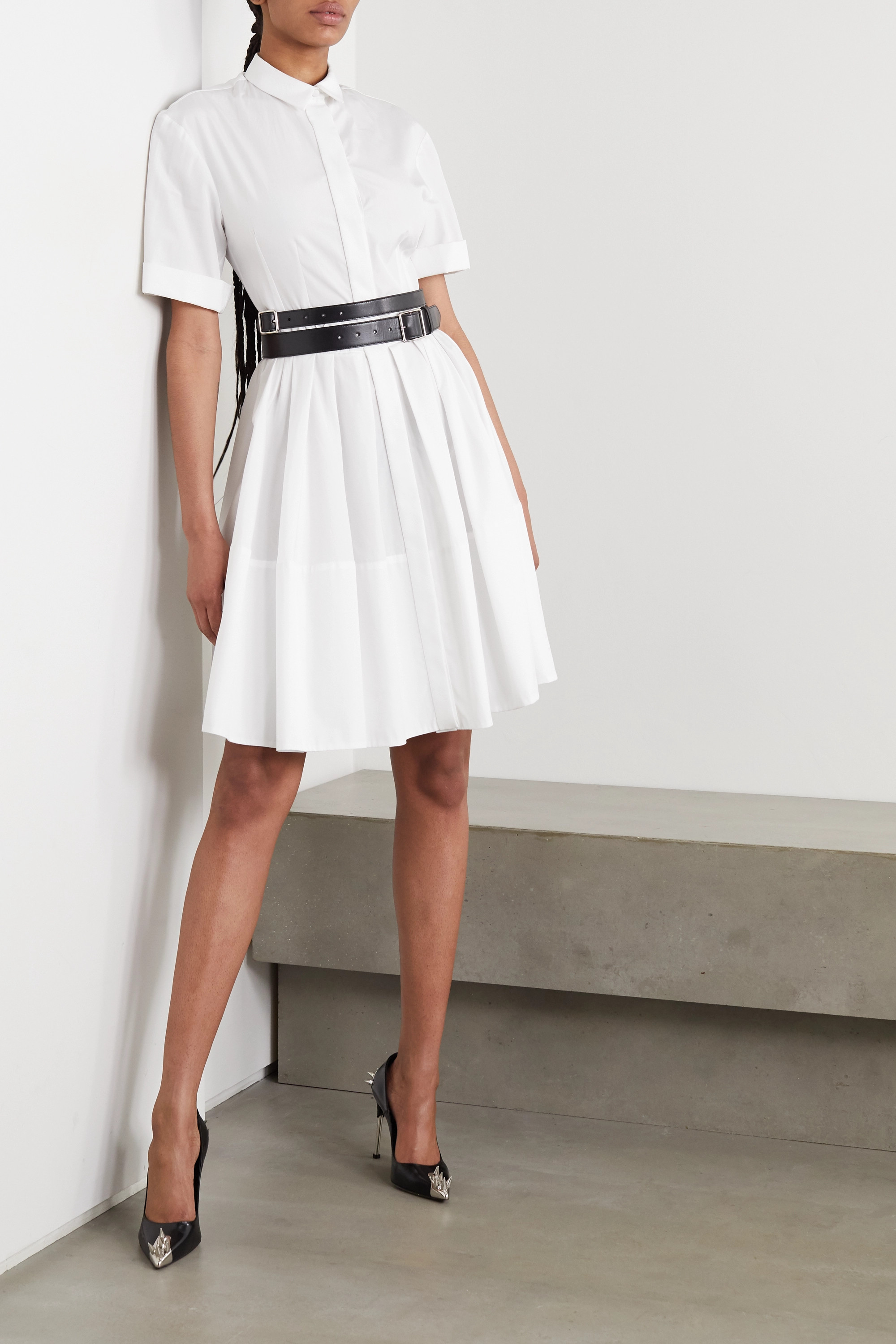 Alexander McQueen Pleated cotton-poplin shirt dress