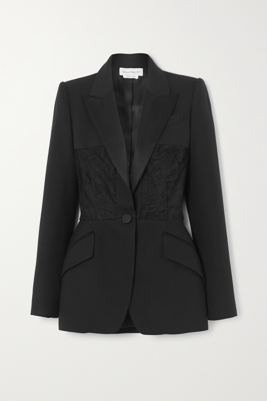 Alexander McQueen Satin-trimmed crepe and lace blazer