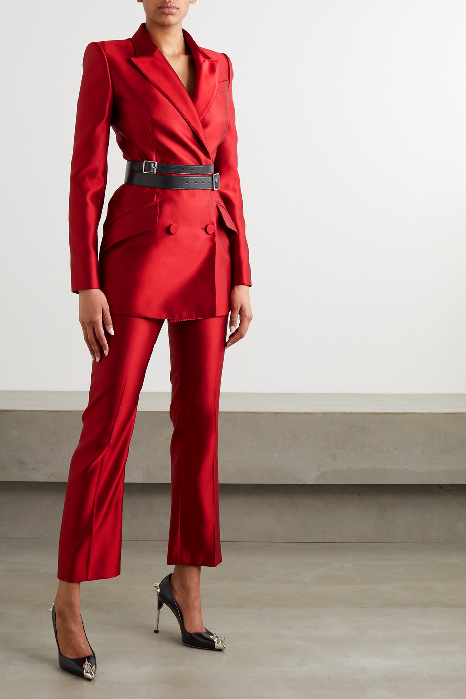 Alexander McQueen Double-breasted silk-satin blazer