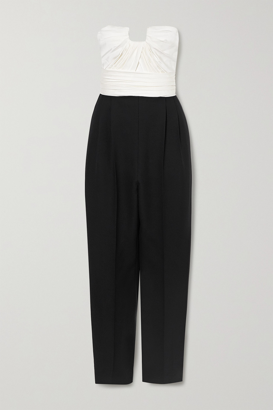 Alexander McQueen Strapless two-tone ruched wool-blend and silk-satin jumpsuit