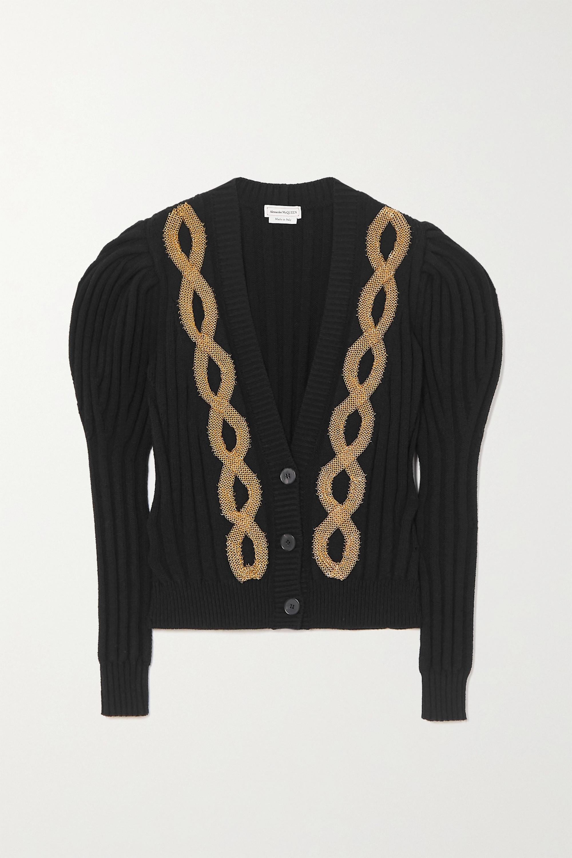 Alexander McQueen 带缀饰罗纹羊毛混纺开襟衫