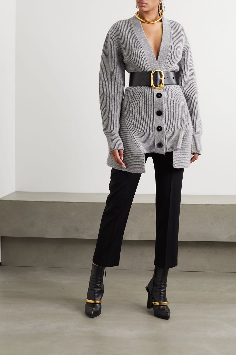 Alexander McQueen Asymmetric ribbed wool and cashmere-blend cardigan