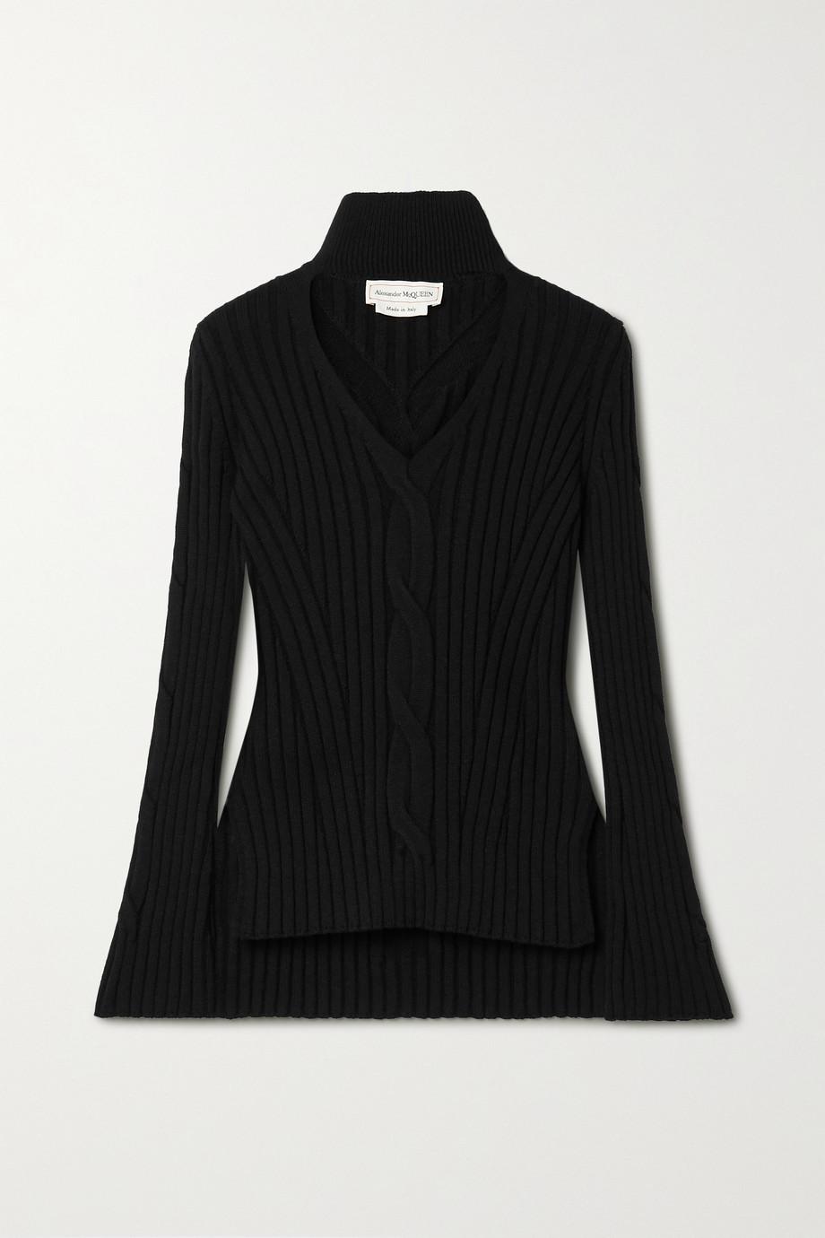 Alexander McQueen Cutout cable-knit wool-blend turtleneck sweater