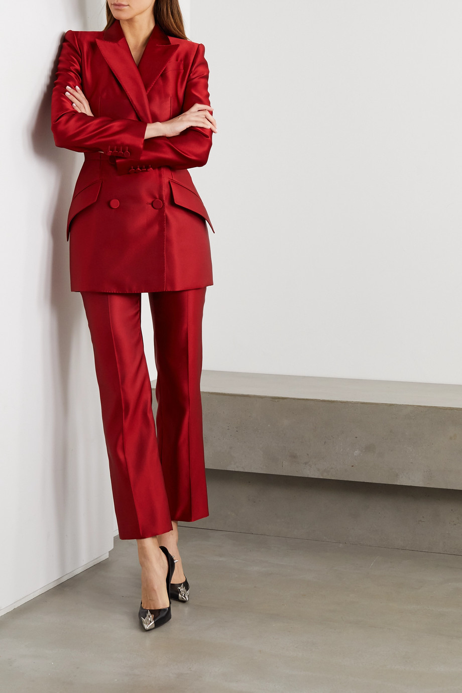 Alexander McQueen Silk-satin straight-leg pants