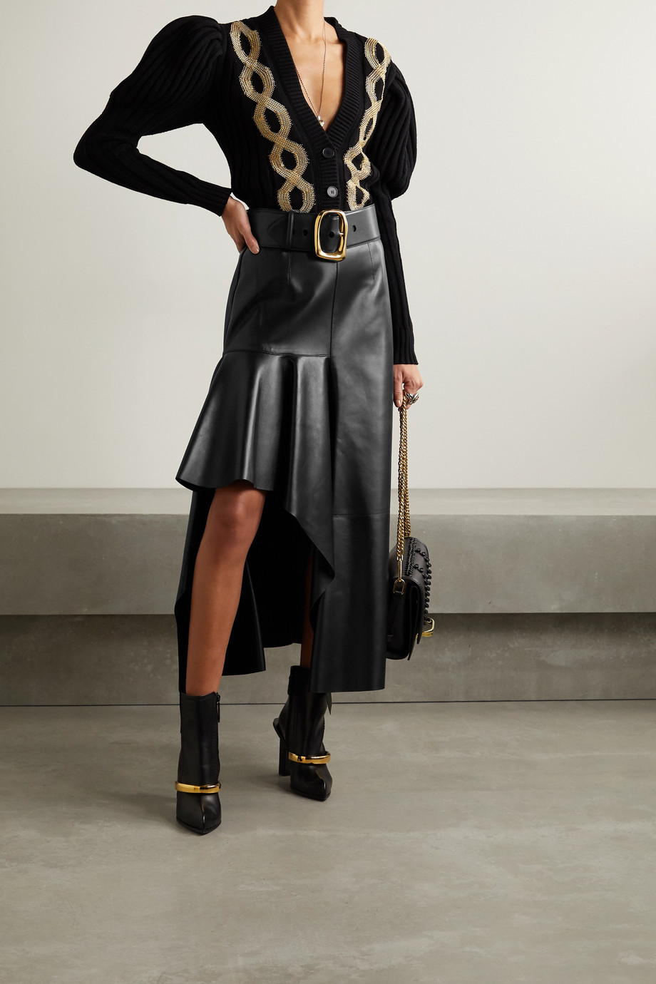 Alexander McQueen Draped leather skirt