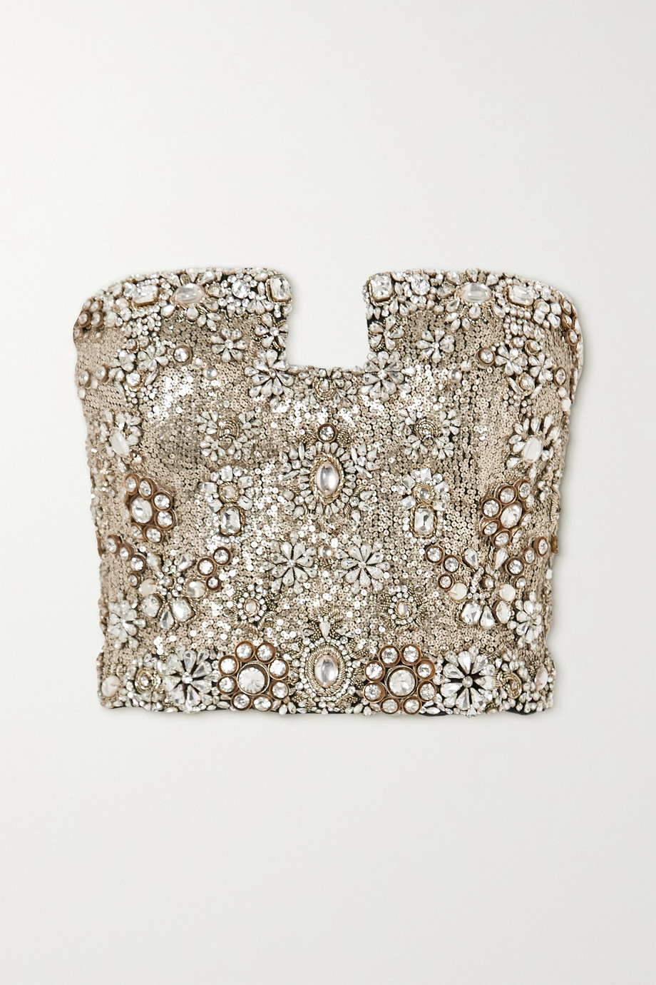 Alexander McQueen Crystal-embellished sequined silk-crepe bustier top